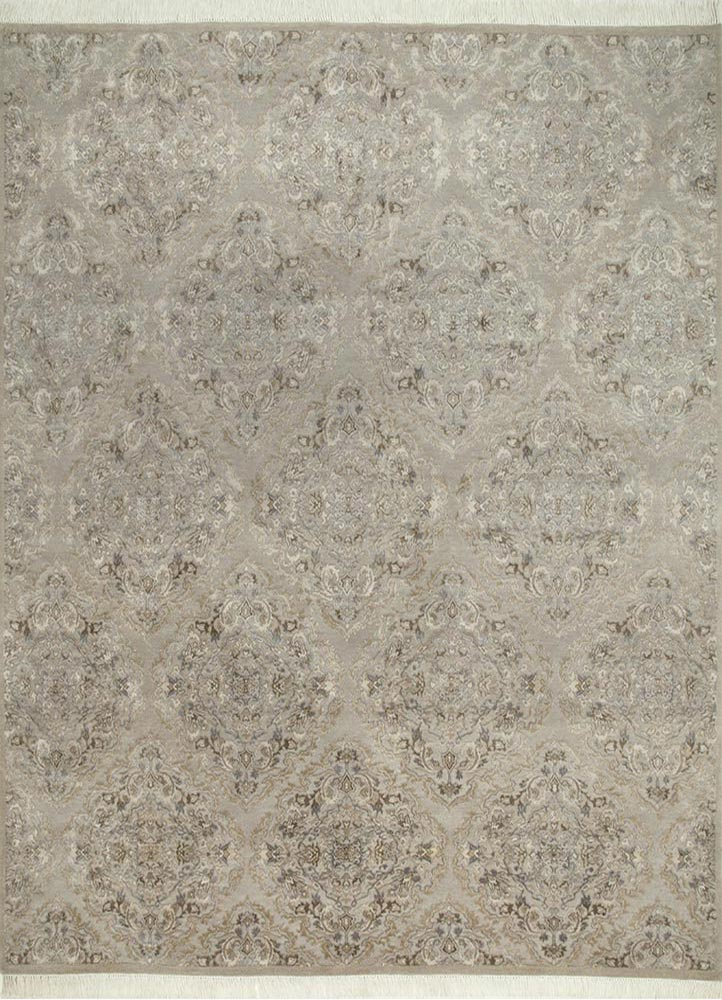 Jaipur Rugs Hand Knotted Wool And Silk Ivory Qm 903 Area Rug Rug1064804