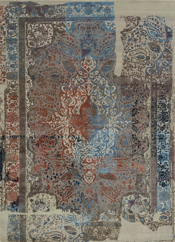 Jaipur Rugs Hand Knotted Wool And Silk Grey And Black Qm 956 Area Rug Rug1083408