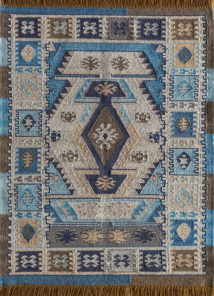 Jaipur Rugs Flat Weaves Wool Blue Sdwl 140 Area Rug Rug1112480