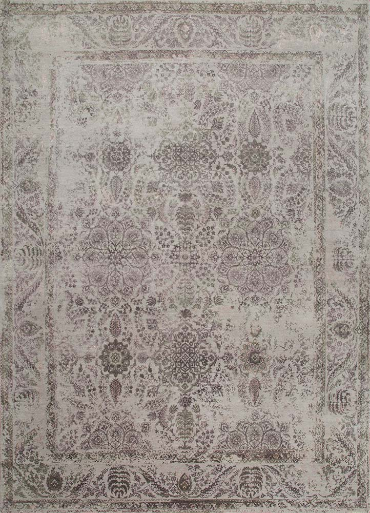 Jaipur Rugs Hand Knotted Wool And Bamboo Silk Grey And Black Srb 771 Area Rug Rug1074155