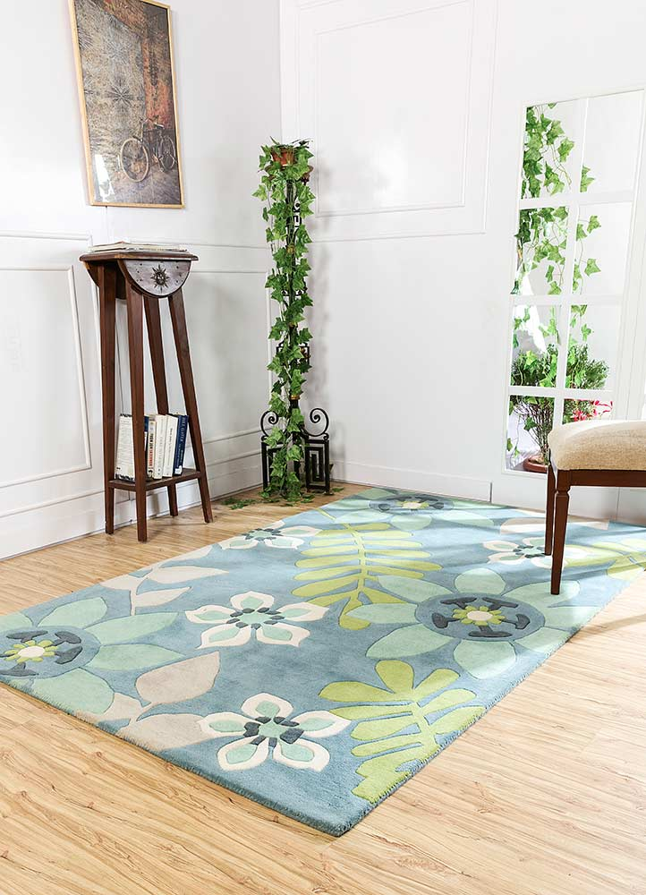 Jaipur Rugs Hand Tufted Wool Blue Ptwl 93 Area Rug Rug1057635
